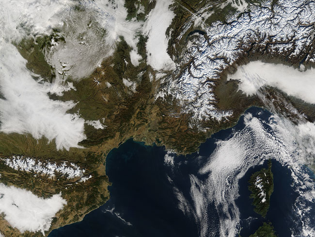 MODIS image of France and Italy