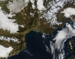 MODIS reflectance image of France and Italy