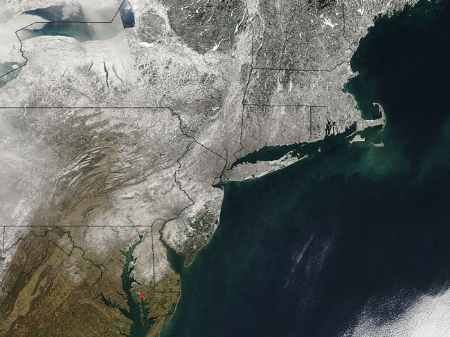 MODIS image of the Northeastern US