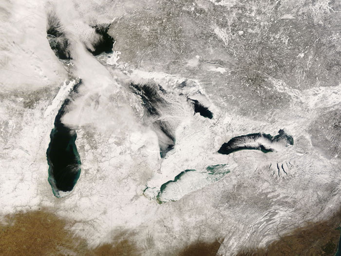 MODIS image of the US Great Lakes