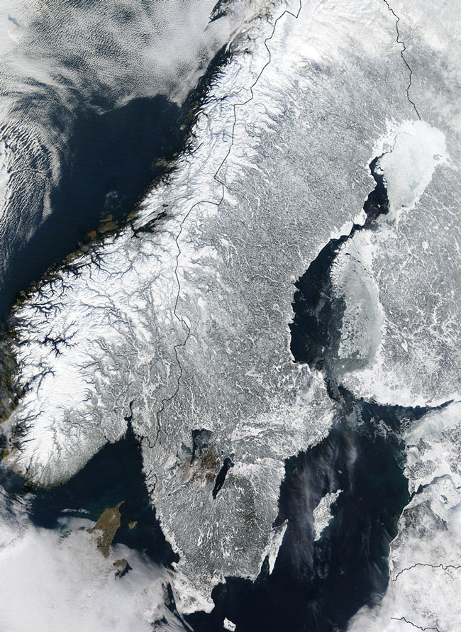 MODIS image of Scandinavia