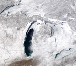 MODIS reflectance image of the North American Great Lakes