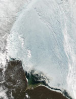 MODIS snow product image of Hudson Bay