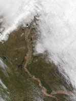 MODIS snow product image of Ob River