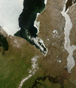 MODIS reflectance image of Ice and Flooding on the Ob River