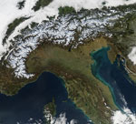 MODIS reflectance image of the Alps