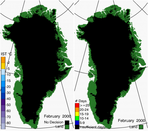 Greenland Surface Temp 02/2000