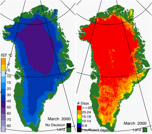 Greenland Surface Temp 03/2000