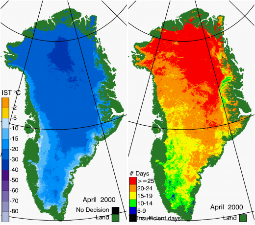 Greenland Surface Temp 04/2000