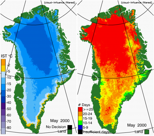 Greenland Surface Temp 05/2000