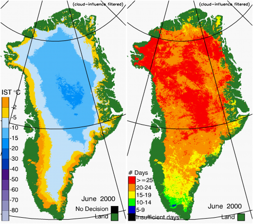 Greenland Surface Temp 06/2000