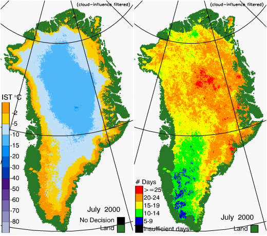 Greenland Surface Temp 07/2000