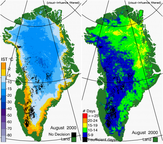 Greenland Surface Temp 08/2000