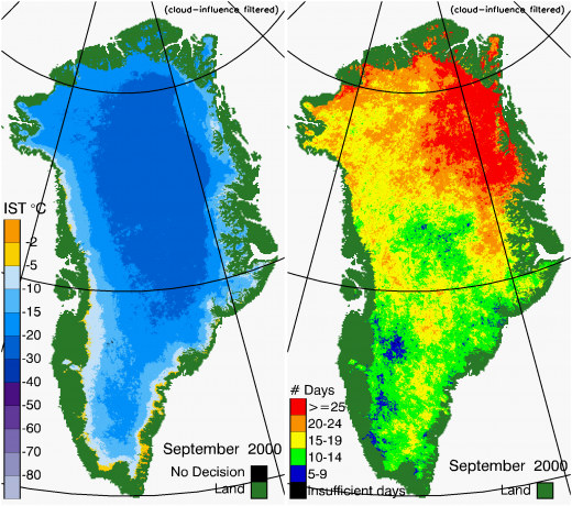 Greenland Surface Temp 09/2000