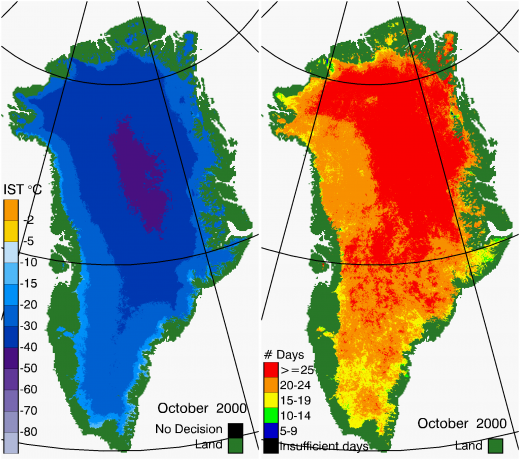 Greenland Surface Temp 10/2000
