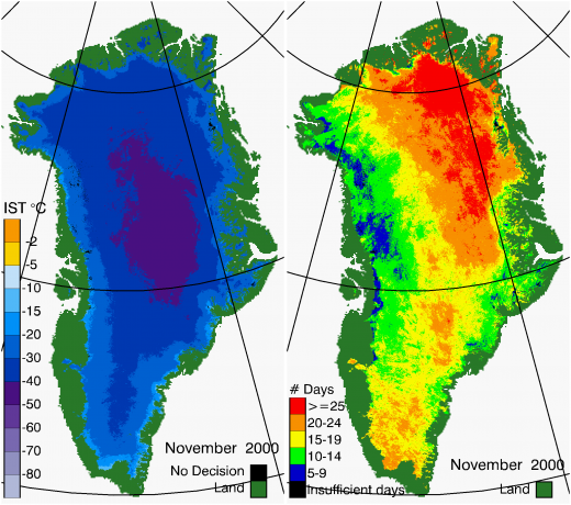 Greenland Surface Temp 11/2000