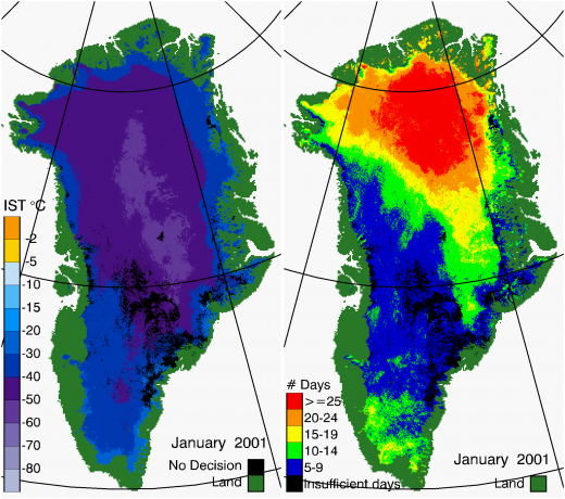 Greenland Surface Temp 01/2001