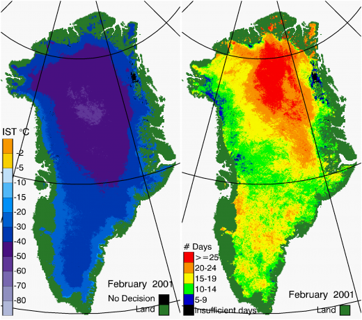 Greenland Surface Temp 02/2001