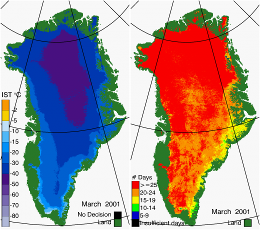 Greenland Surface Temp 03/2001