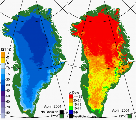 Greenland Surface Temp 04/2001