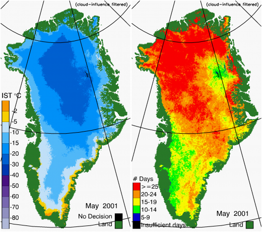 Greenland Surface Temp 05/2001