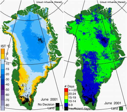 Greenland Surface Temp 06/2001