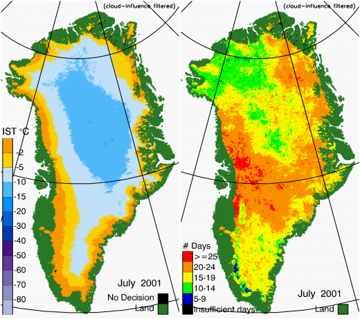 Greenland Surface Temp 07/2001