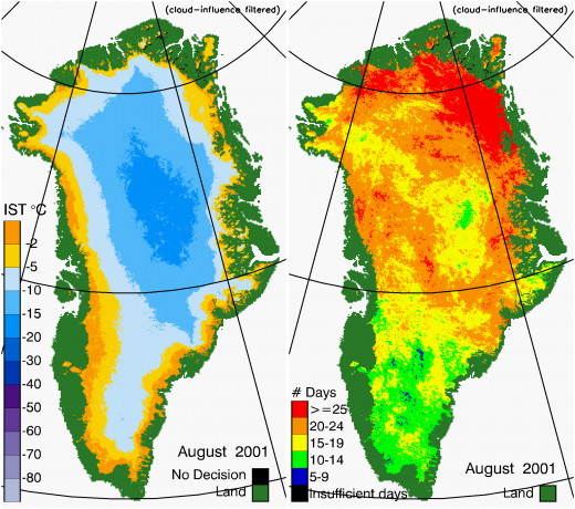 Greenland Surface Temp 08/2001
