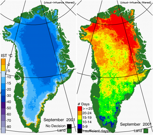 Greenland Surface Temp 09/2001
