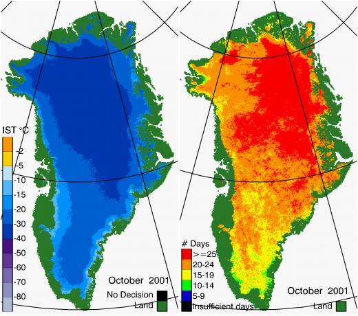 Greenland Surface Temp 10/2001
