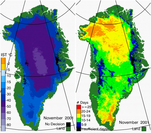 Greenland Surface Temp 11/2001