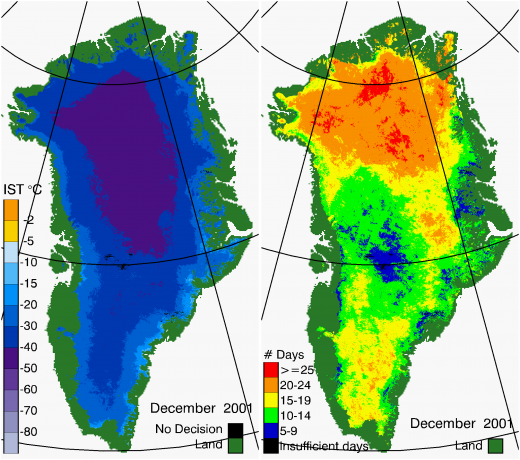 Greenland Surface Temp 12/2001