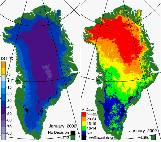 Greenland Surface Temp 01/2002