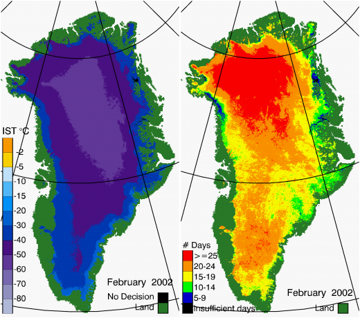 Greenland Surface Temp 02/2002