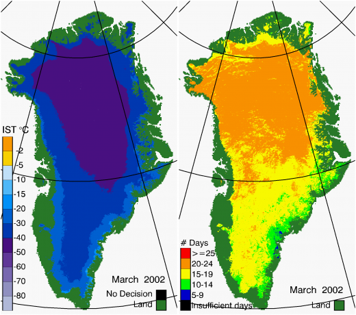 Greenland Surface Temp 03/2002