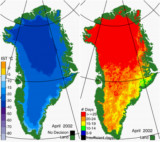Greenland Surface Temp 04/2002