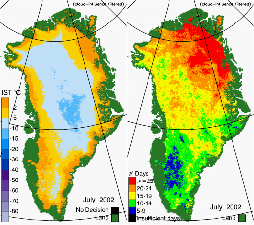Greenland Surface Temp 07/2002