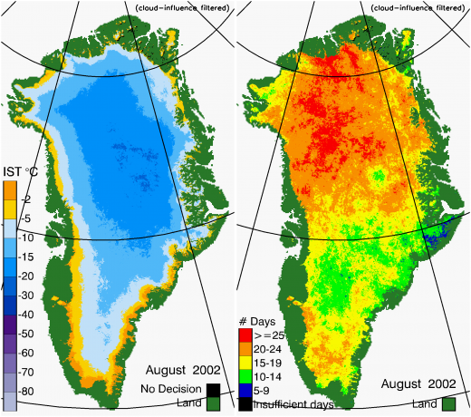 Greenland Surface Temp 08/2002