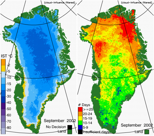 Greenland Surface Temp 09/2002