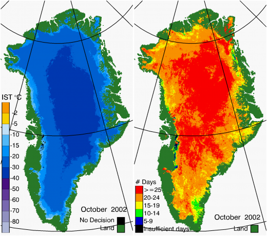 Greenland Surface Temp 10/2002