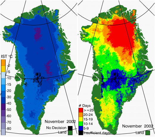 Greenland Surface Temp 11/2002