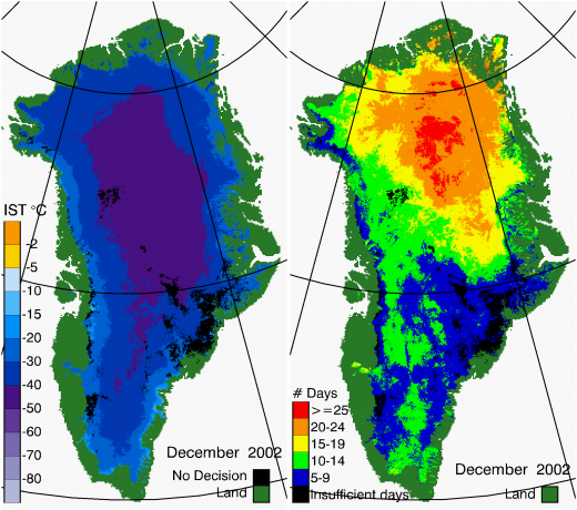 Greenland Surface Temp 12/2002