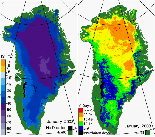 Greenland Surface Temp 01/2003