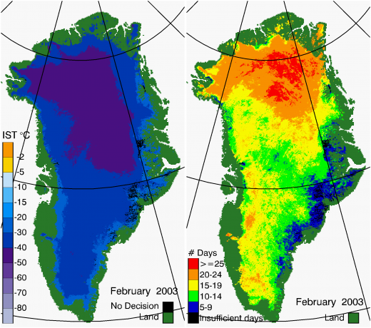 Greenland Surface Temp 02/2003