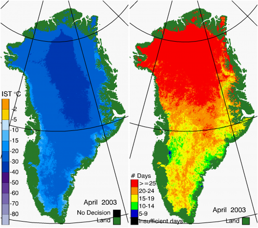 Greenland Surface Temp 04/2003