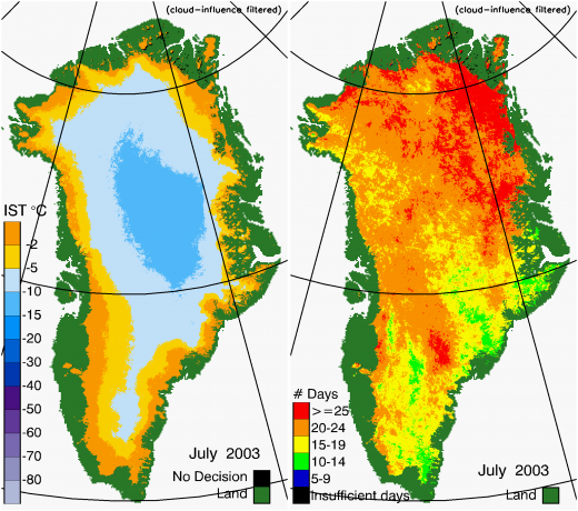 Greenland Surface Temp 07/2003