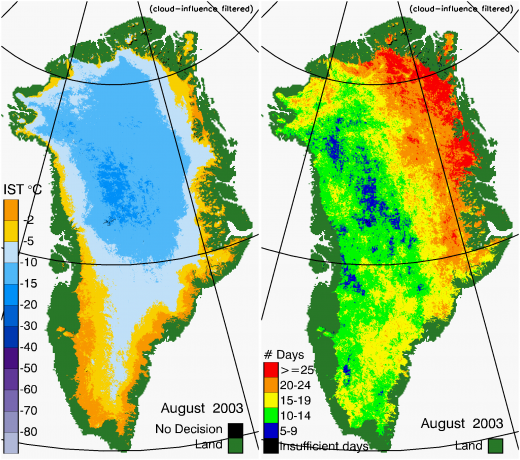 Greenland Surface Temp 08/2003