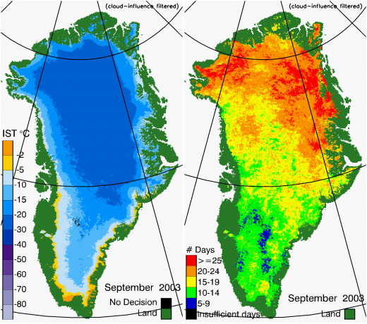 Greenland Surface Temp 09/2003