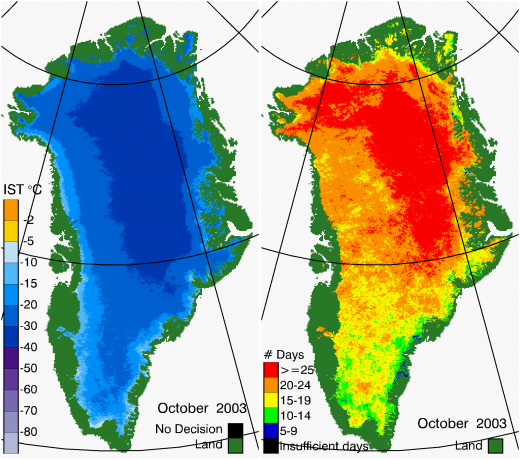 Greenland Surface Temp 10/2003