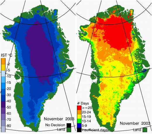 Greenland Surface Temp 11/2003